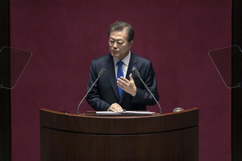 Le président sud-coréen Moon Jae-in.... (Photo Ed Jones, AP)