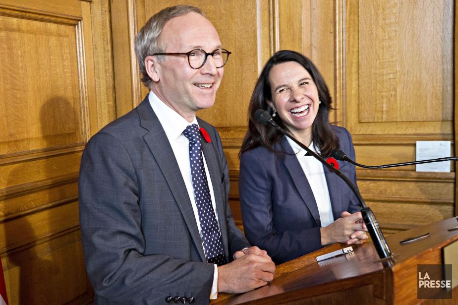 Martin Coiteux et Valérie Plante.... (Photo Patrick Sanfaçon, La Presse)