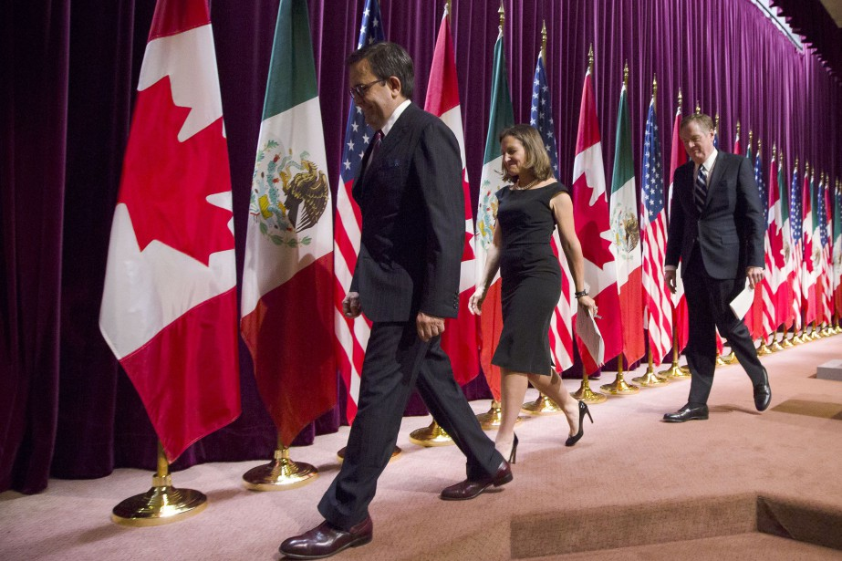 Ildefonso Guajardo Villarreal, Chrystia Freeland et Bob Lighthizer.... (Photo Bloomberg)