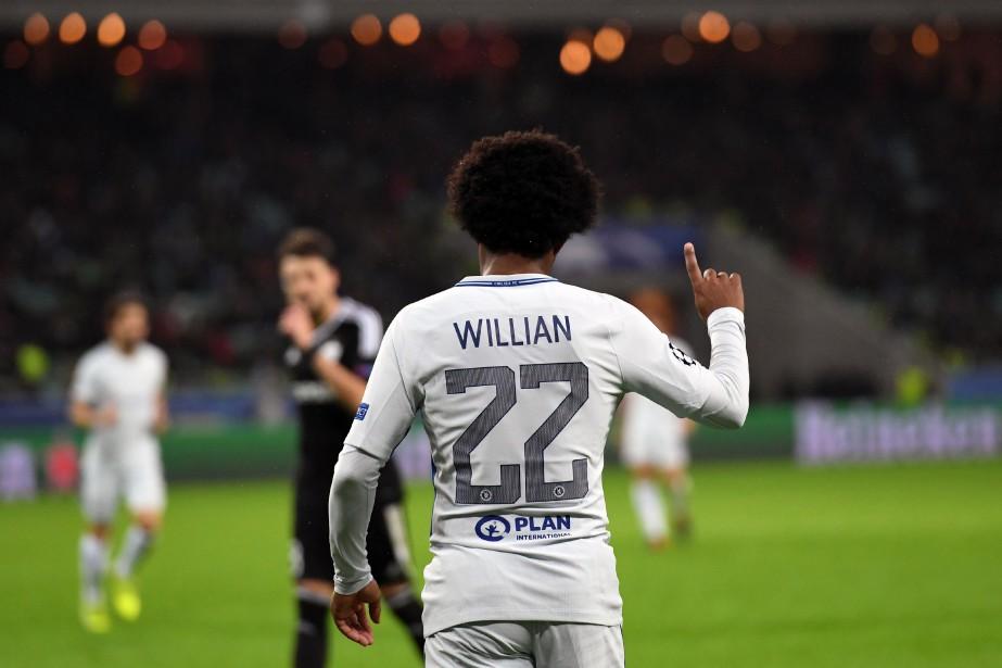 Willian a permis à Chelsea d'accéder aux éliminatoires de la Ligue... (PHOTO AFP)