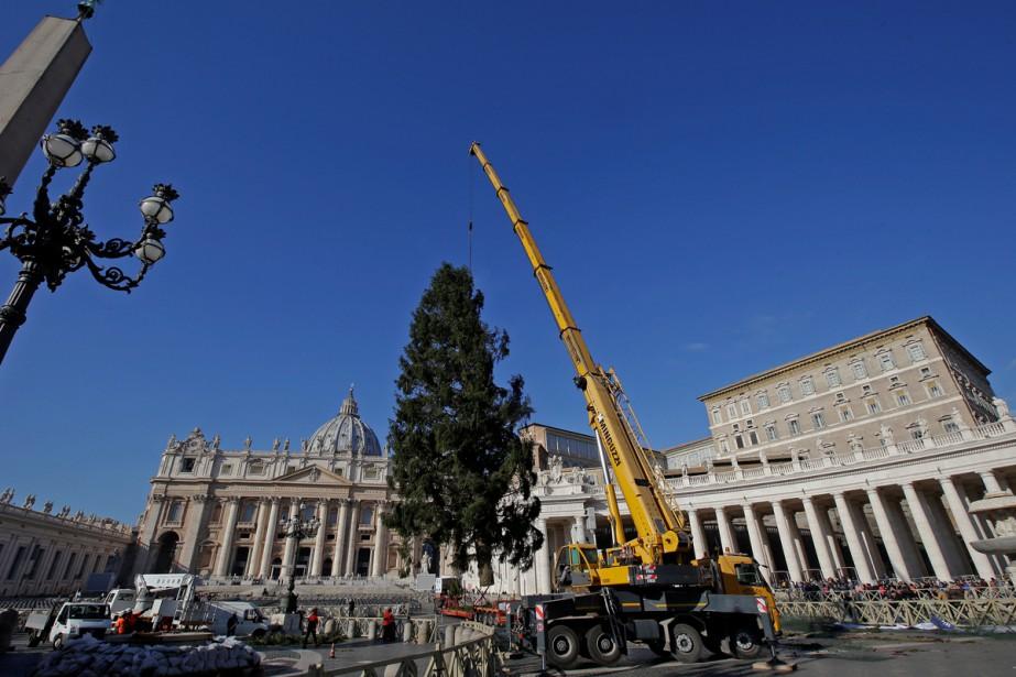 Un gigantesque sapin de Noël qui a survécu à la foudre en... (Photo Reuters)