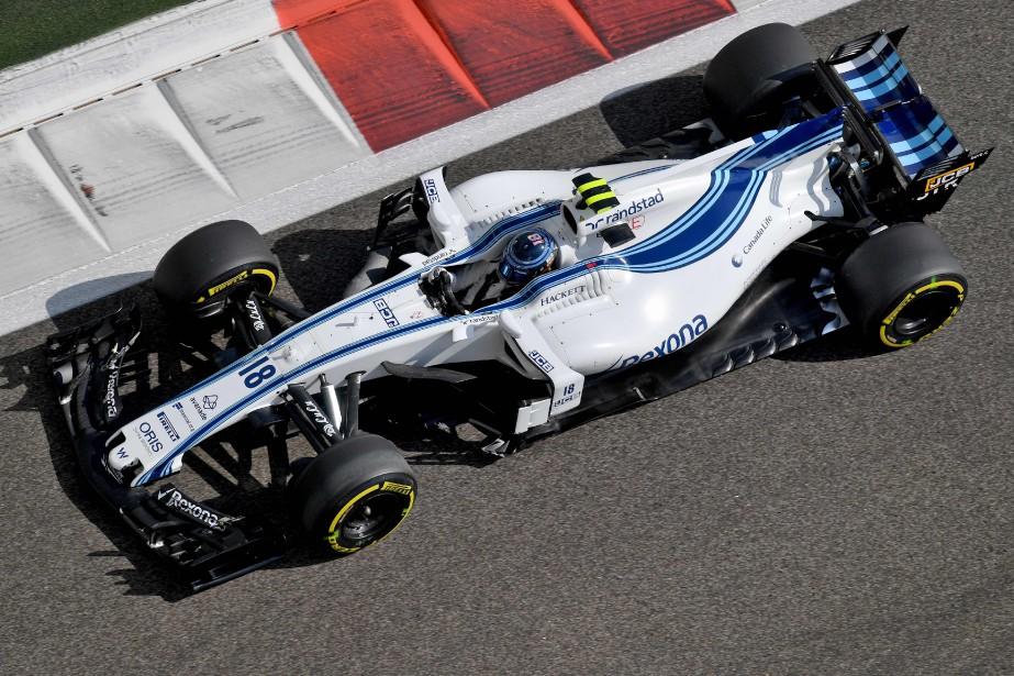 Le Canadien Lance Stroll au volant de sa Williams, durant la première séance d'essais. Stroll a inscrit le 14e chrono sur 20. | 24 novembre 2017