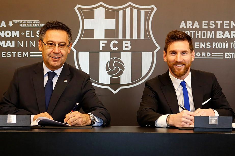 Le président du FCBarcelone, Josep Maria Bartomeu, était... (PHOTO AFP/FOURNIE PAR LE FC BARCELONE)