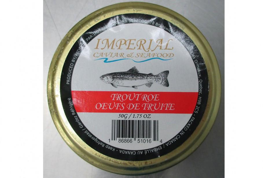Oeufs de truite de marque Imperial Caviar and... (Photo ACIA)