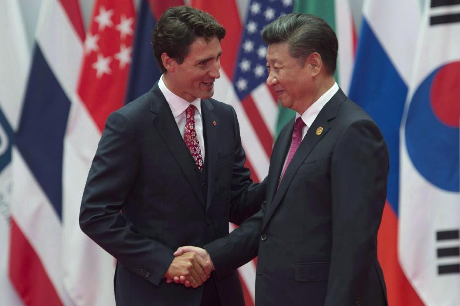 Justin Trudeau et Xi Jinping en septembre 2016.... (THE CANADIAN PRESS)