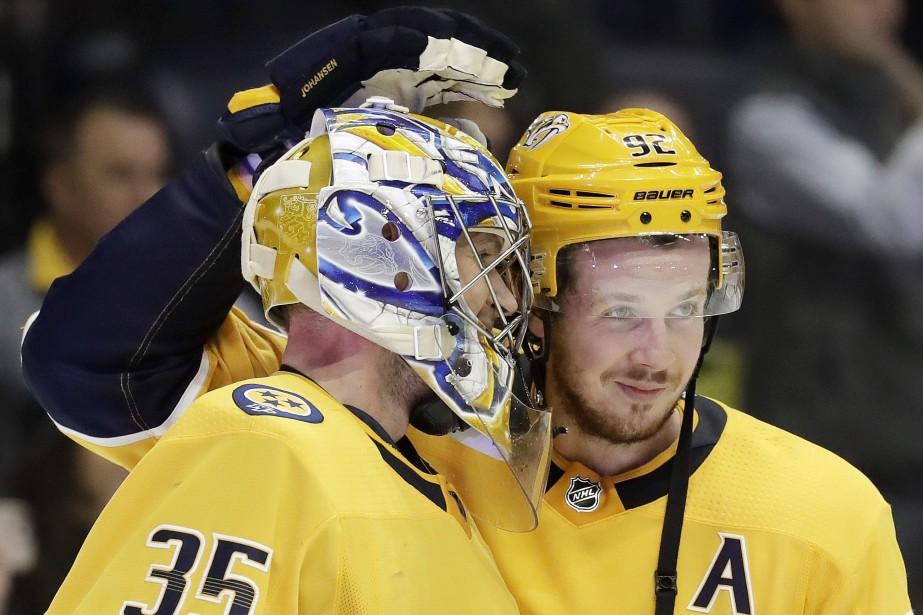 Pekka Rinne a repoussé37 tirs dans la victoire... (PHOTO Mark Humphrey, AP)