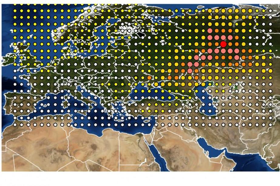 Une carte de la détection du ruthénium-106 en... (Photo INRS via AP)