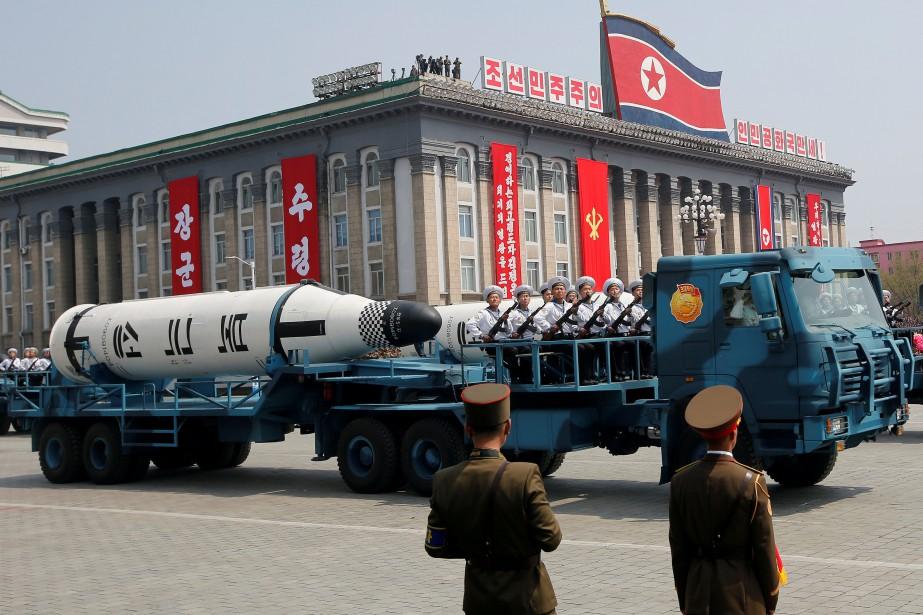Parade militaire à Pyongyang en avril dernier.... (PHOTO REUTERS)