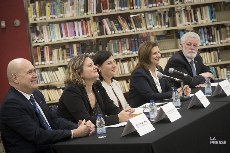 Les cinq présidents des commissions scolaires de Montréal... (Photo Ivanoh Demers, La Presse)