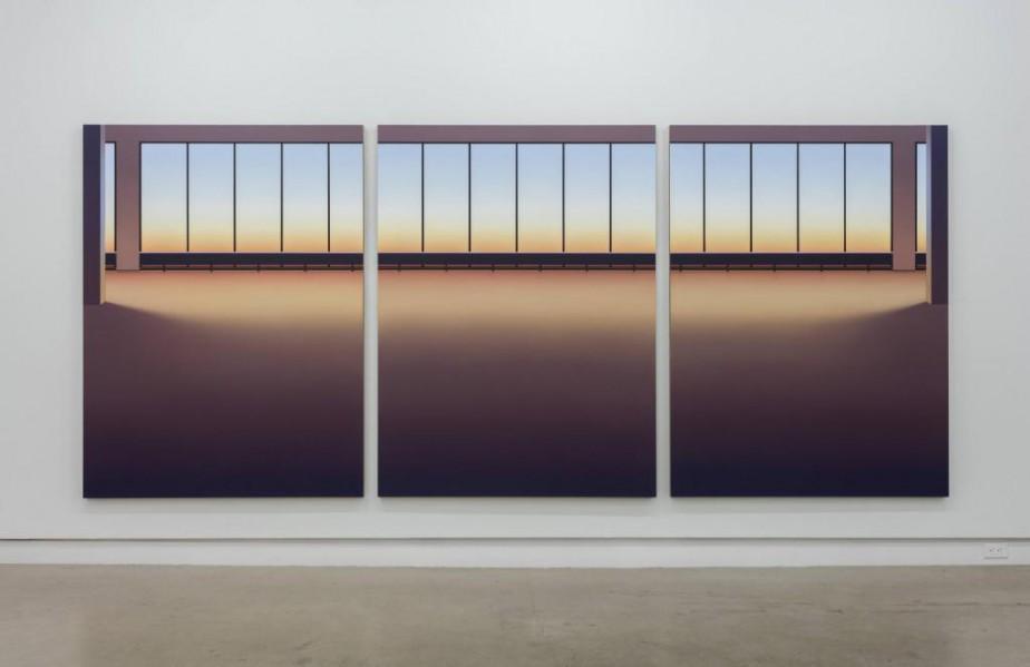 Le grand triptyque de Pierre Dorion exposé à... (PHOTO RICHARD-MAX TREMBLAY, FOURNIE PAR LA GALERIE OCCURRENCE)