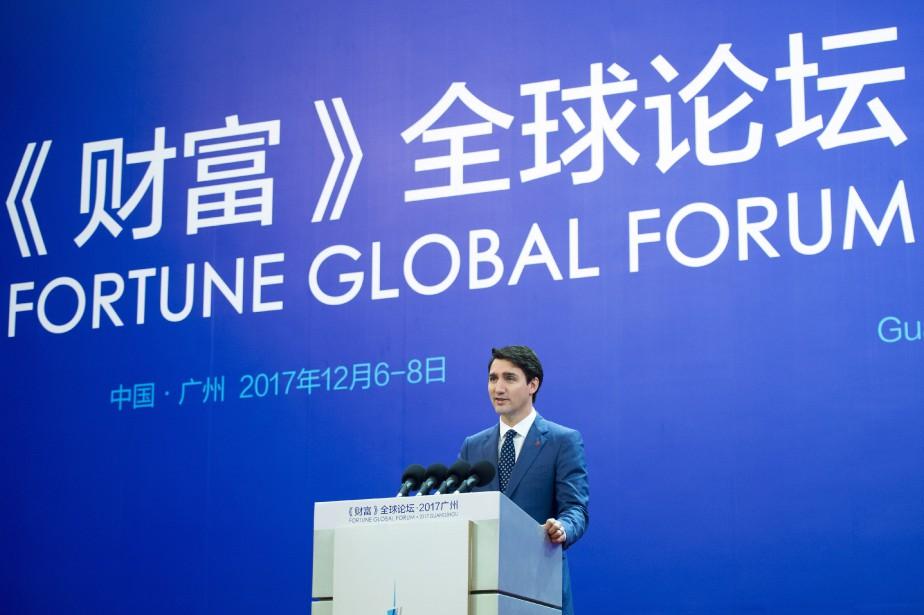 M. Trudeau prenait la parole devant le forum... (THE CANADIAN PRESS)