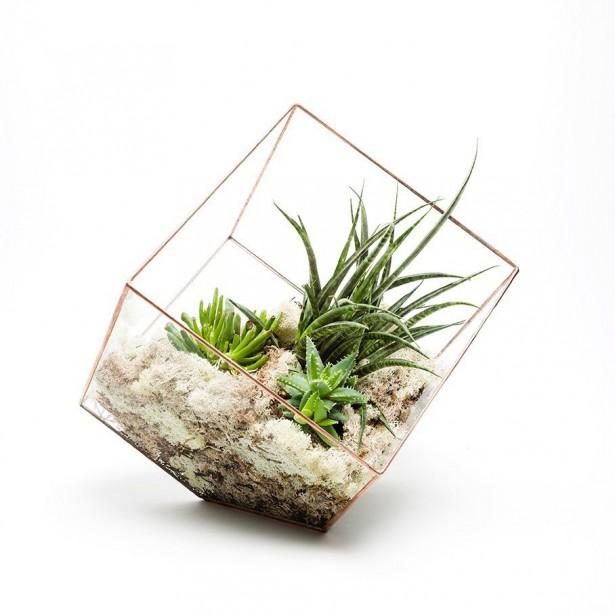 TERRARIUM CUBE Très en vogue actuellement, le terrarium en verre constitue le cadeau parfait pour les mamans créatives. On pourra y déposer une petite plante décorative ou encore y créer un décor du temps des Fêtes avec de petits objets tels des pommes de pin, des branches de sapin ou des animaux de plastique. Terrarium en cube, 28 $, Terrarium-Cube | 6 décembre 2017