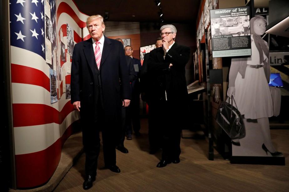 Le président américain Donald Trump lors de la... (PHOTO Kevin Lamarque, REUTERS)