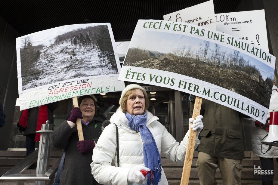 Les manifestants, dont l'ancienne mairesse de Saint-Adolphe-d'Howard, ont... (PHOTO ROBERT SKINNER, LA PRESSE)