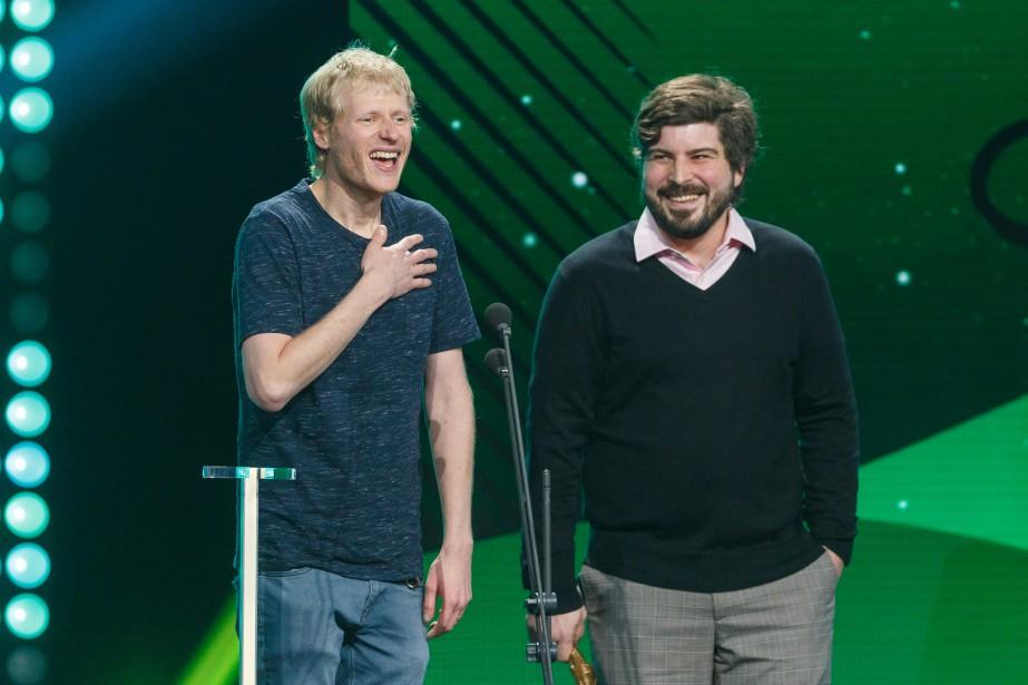 Simon Leblanc et Olivier Thivierge ont été sacrés auteurs de l'année/spectacle d'humour pour  Tout court . | 10 décembre 2017