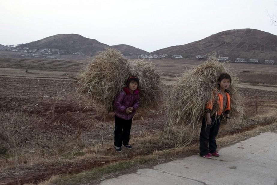 Des enfants transportent du foin près du mont... (Photo Ng Han Guan, archives AP)