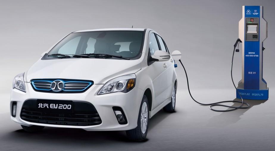 Une voiture électrique EV200 de BAIC. (BAIC)