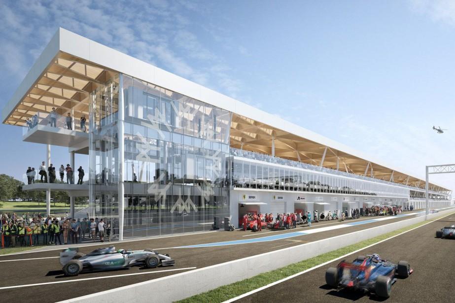 Le projet de réfection des paddocks comprend un nouveau bâtiment multifonction. (Photo : Ville de Montréal - SOCIété DU PARC JEAN-DRAPEAU)