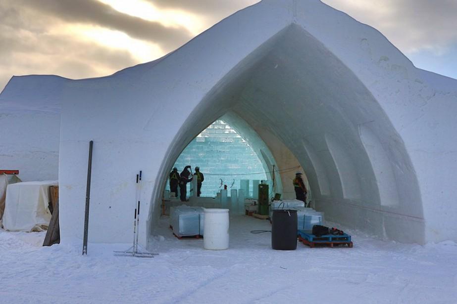 L'hôtel de glace, présentement en construction, adoptera le... (Photo fournie par le Village Vacances Valcartier)