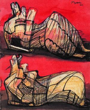 Henry Moore (1898-1986), Deux figures allongées et drapées,... (Reproduction sous permission de la Henry Moore Foundation)