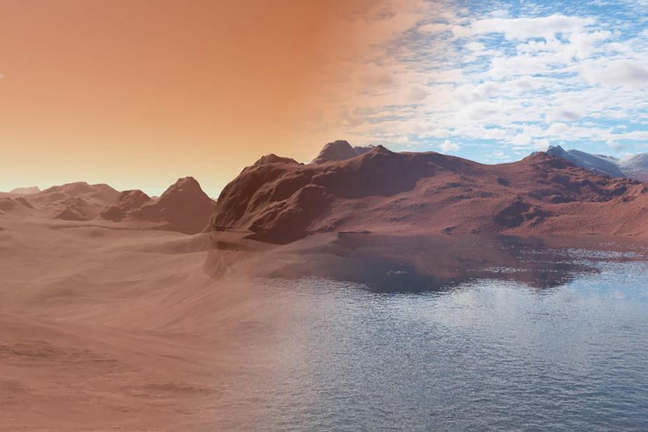 Une représentation de la planète Mars: à gauche,... (Photo Agence France-Presse/Nature)