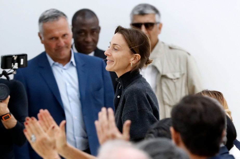 La Britannique Phoebe Philo lors d'un défilé à... (PHOTO ARCHIVES AFP)