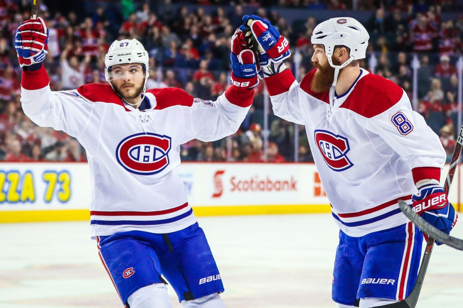 Jordie Benn et Alex Galchenyuk.... (PHOTO USA TODAY Sports)