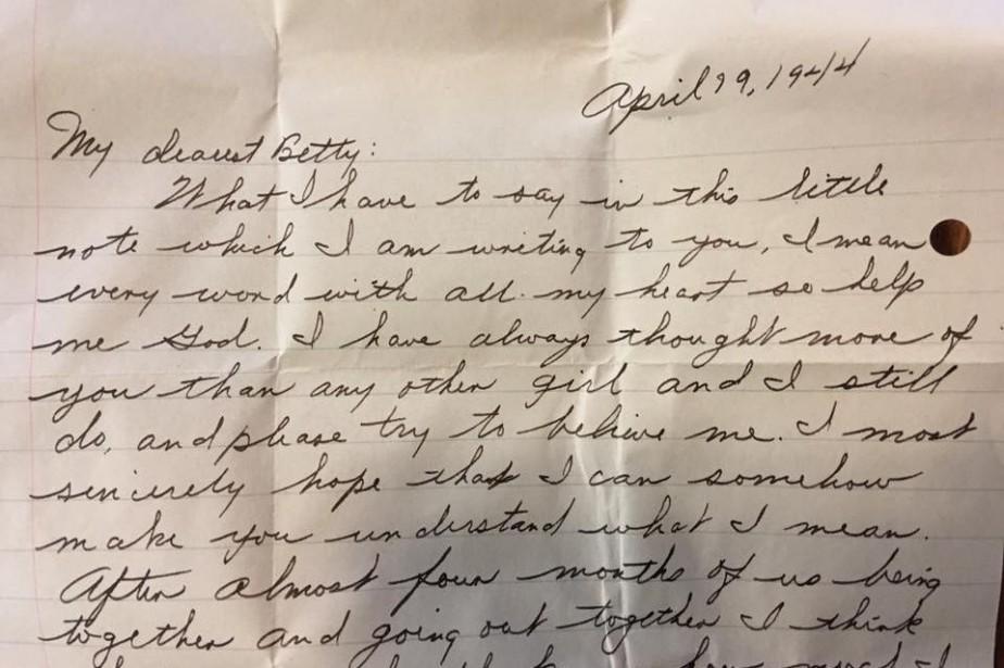 La lettre est adressée à une mademoiselle Betty... (Photo tirée de Facebook)