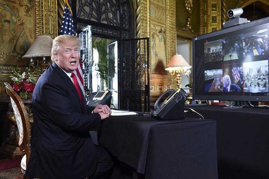 Donald Trump s'est adressé aux médias avant de... (PHOTO NICHOLAS KAMM, AGENCE FRANCE-PRESSE)