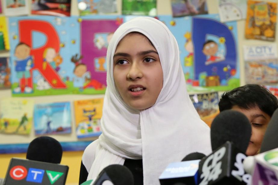 Khawlah Noman, une écolière torontoise de 11 ans,... (Photo Chris Helgren, REUTERS)