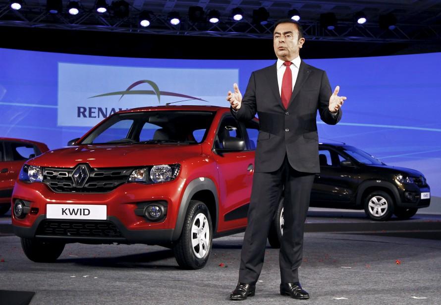 Carlos Ghosn, le PDG de l'Alliance Renault-Nissan-Mitsubishi, s'adresse aux journalistes à Chennai, in Inde, lors du lancement de la Renault Kwid. Renault prépare une petite voiture électrique bon marché basée sur la Kwid. | 12 janvier 2018
