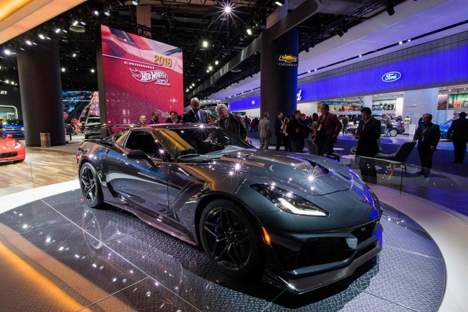 Contrairement aux attentes, la fameuse Corvette à moteur central n'a pas été présentée au premier jour du Salon de l'auto de Détroit. Mais cette ZR1 y est exposée. | 18 janvier 2018