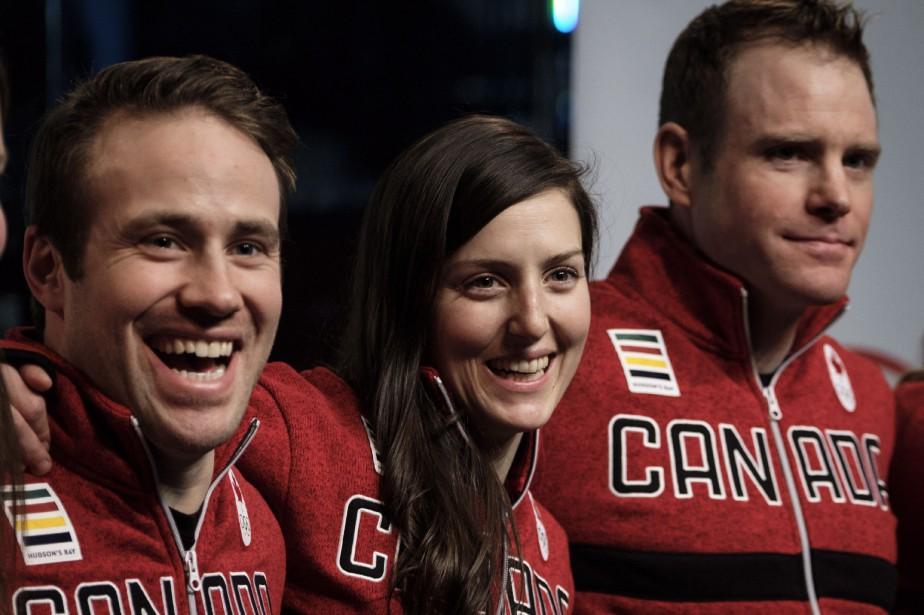 Kevin Drury, Kelsey Serwa et Chris Del Bosco,... (Photo Jeff McIntosh, La Presse canadienne)