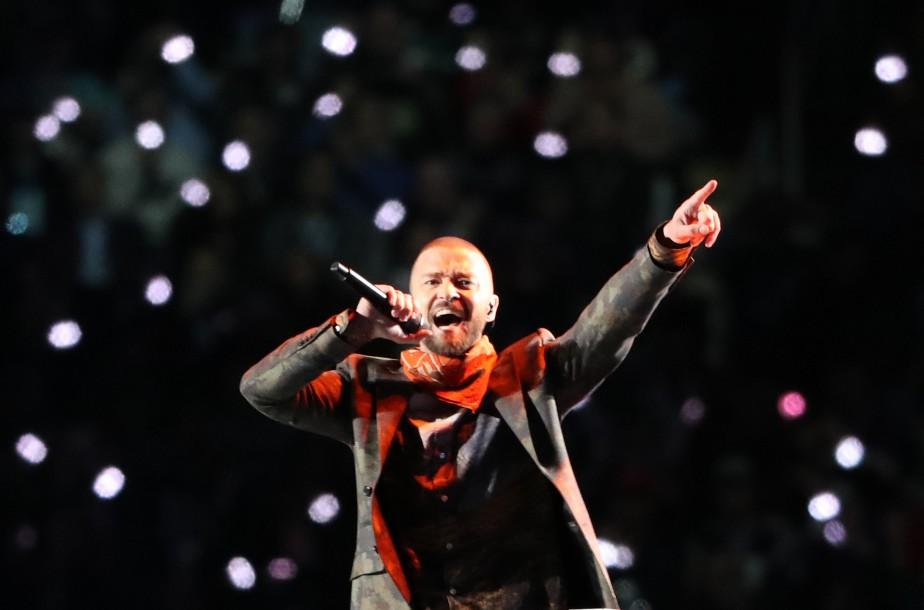 Justin Timberlake lors de sa performance.... (REUTERS)