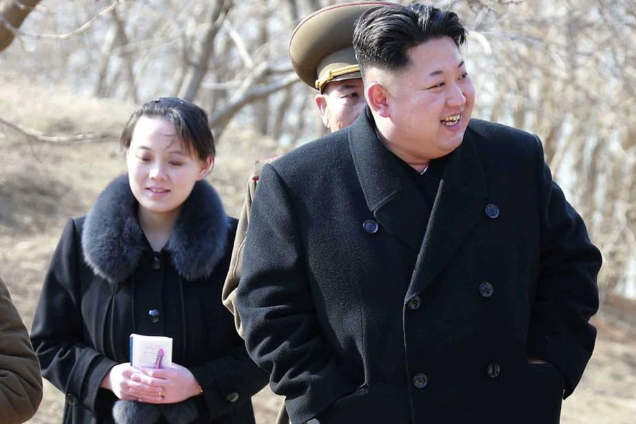 Le dirigeant nord-coréen Kim Jong-Un et sa soeurKim... (AP)