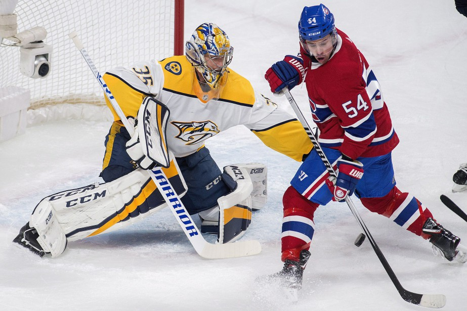 Charles Hudon et Pekka Rinne... (Photo La Presse canadienne)