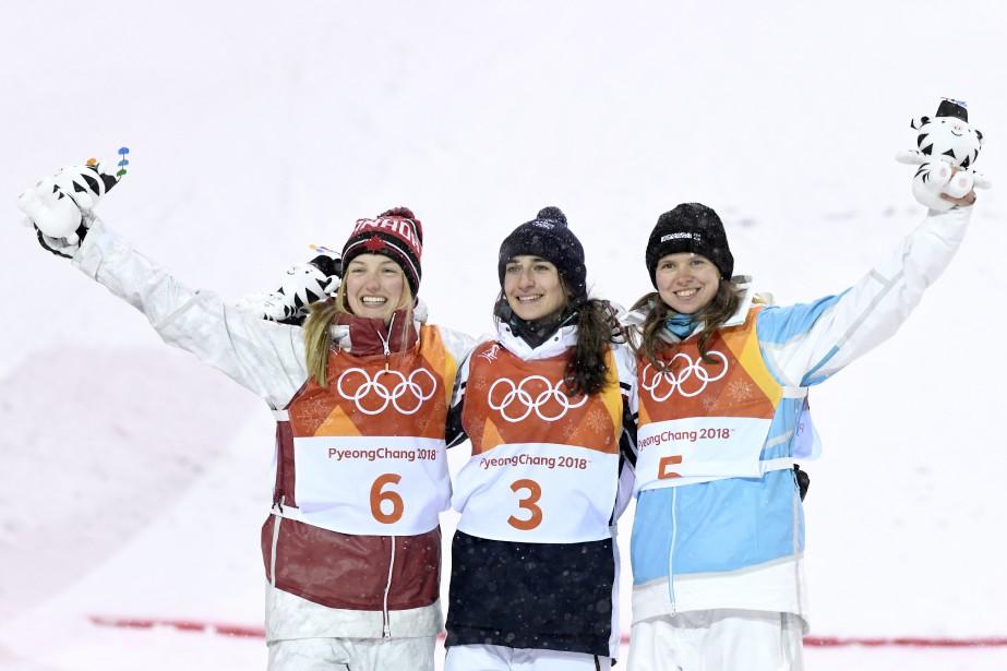 Justine Dufour-Lapointe, Perrine Laffont et Yulia Galysheva. | 11 février 2018
