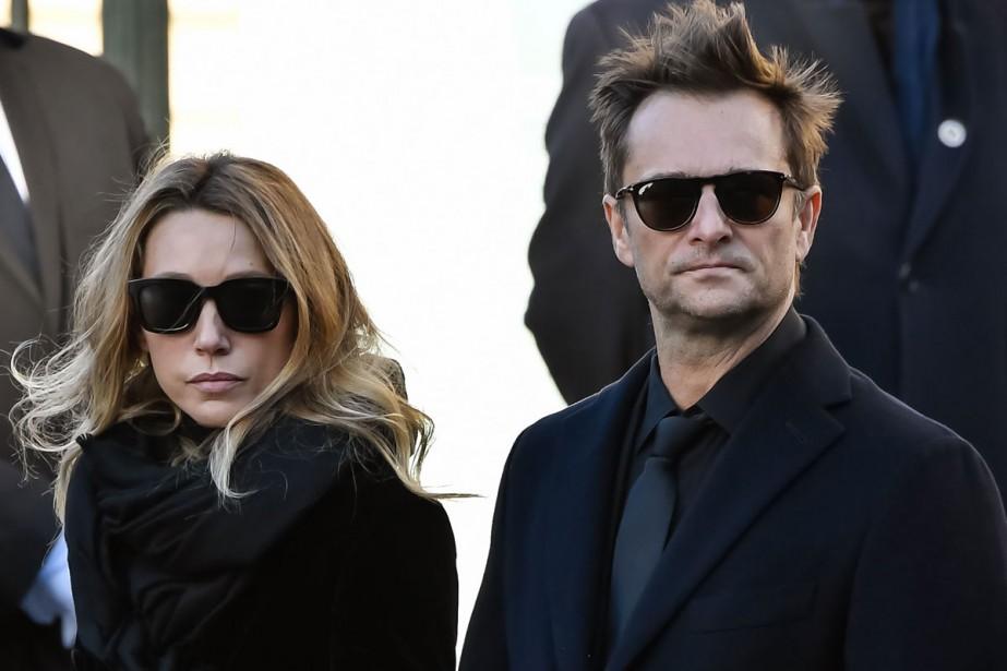 Laura Smet et David Hallyday lors des funérailles... (Photo archives AFP)