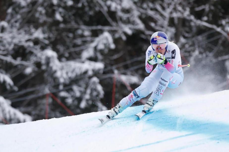 La skieuse américaine Lindsey Vonn en action lors... (photoDominic Ebenbichler, reuters)