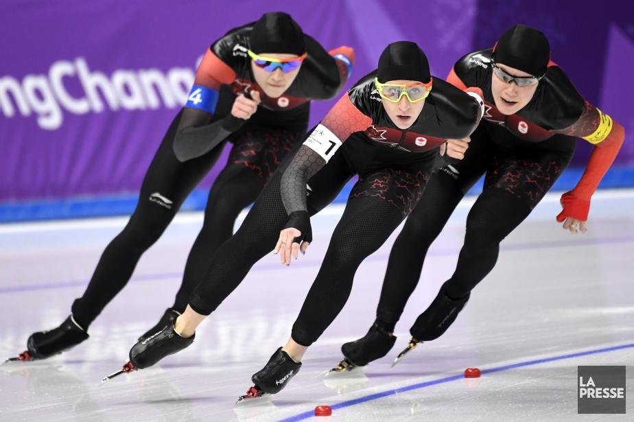 L'équipe composée d'Isabelle Wiedemann, Ivanie Blondin et Josie... (Photo Bernard Brault, La Presse)