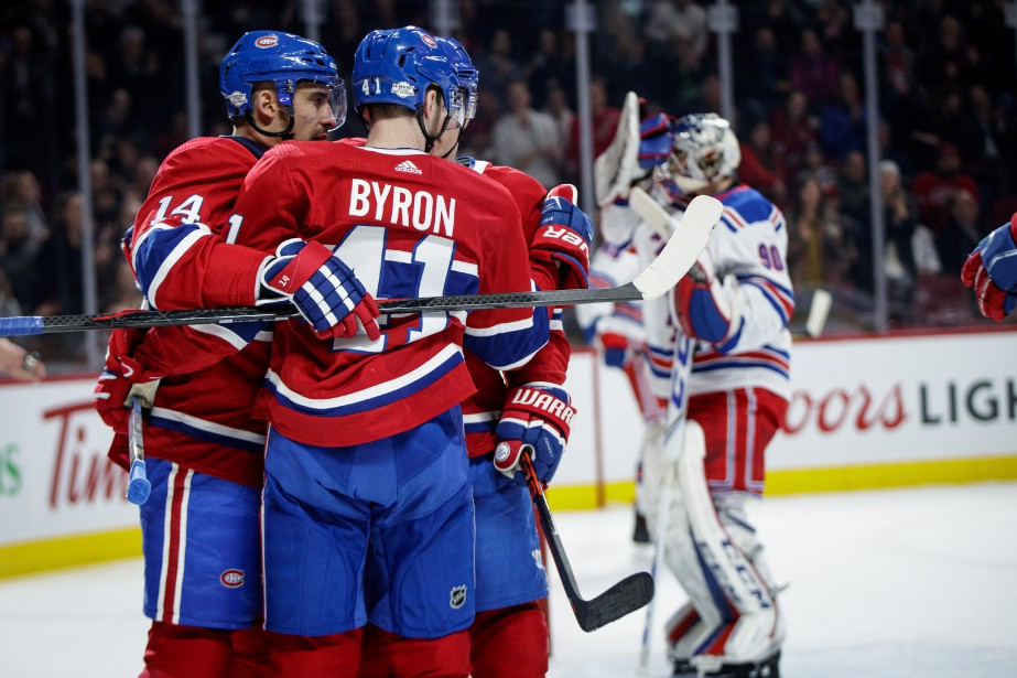 Tomas Plekanec (14) avec Brendan Gallagher (11) et Paul Byron... | 2018-02-22 00:00:00.000