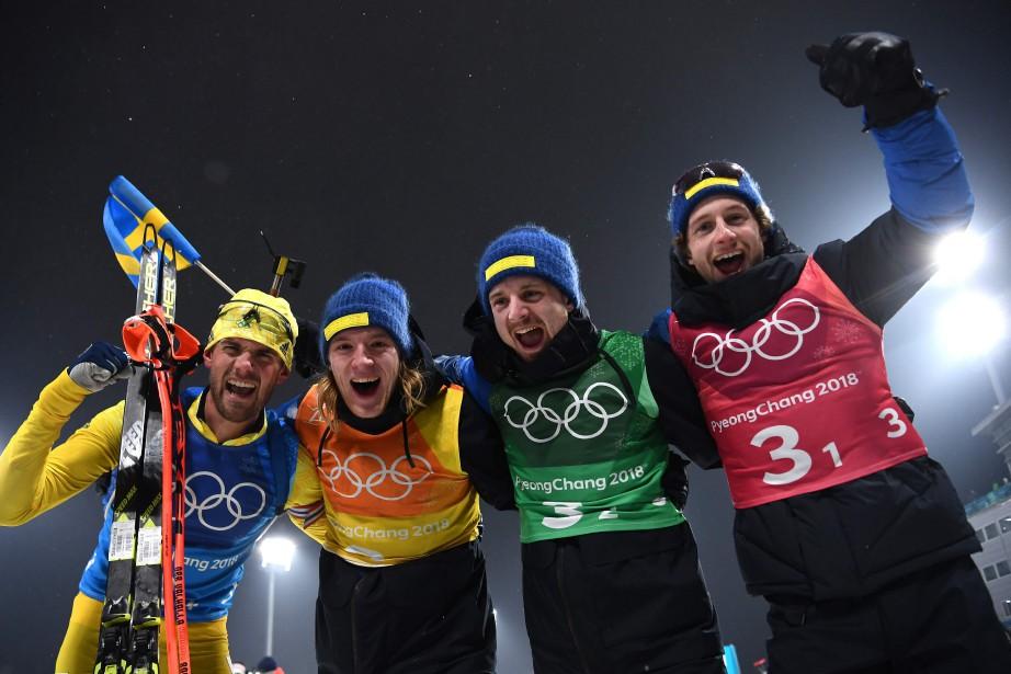 Les membres de l'équipe gagnante de Suède. De... (Photo Franck Fife, Agence France-Presse)