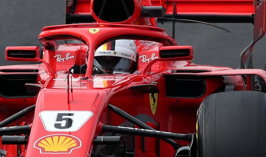 Sebastian Vettel au volant de sa Ferrari. | 27 février 2018