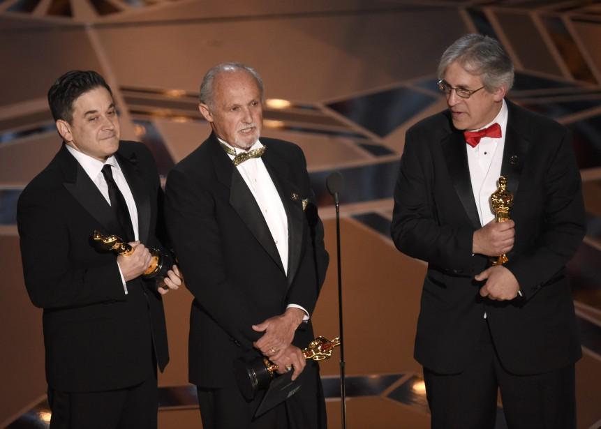 Gary A. Rizzo, Gregg Landaker et Mark Weingarten ont remporté l'Oscar du meilleur mixage sonore pour <em>Dunkirk</em>. (Chris Pizzello/Invision/AP)