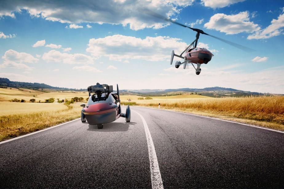 Le véhicule à trois roues (deux à l'arrière, une à l'avant), doté d'un rotor déployable qui lui permet de voler comme un hélicoptère, est propulsé par un moteur à essence. | 7 mars 2018