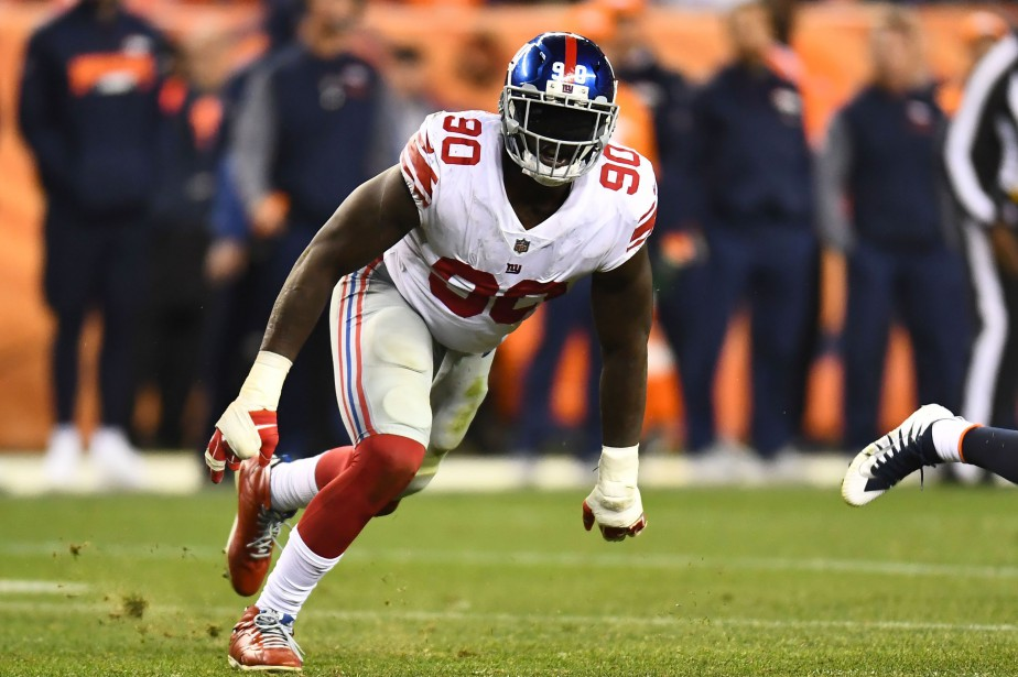 Jason Pierre-Paul a réalisé 68 plaqués, huit sacs du... (Photo Ron Chenoy, USA Today Sports)