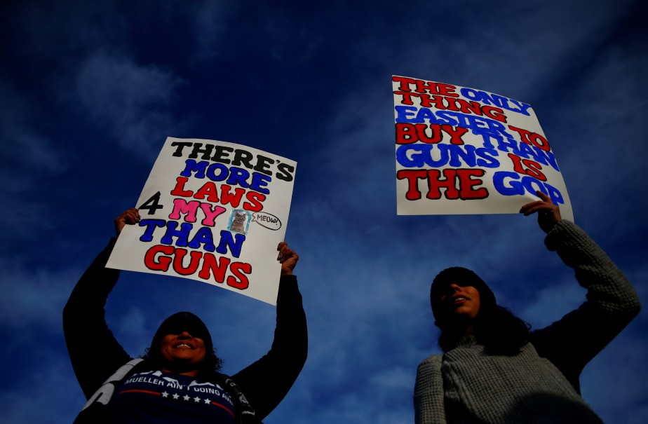 «Il y a plus de lois pour mon chat que pour les armes» et «La seule chose plus facile à acheter qu'un fusil est le parti républicain», avaient écrit ces deux manifestantes sur leurs affiches.   24 mars 2018