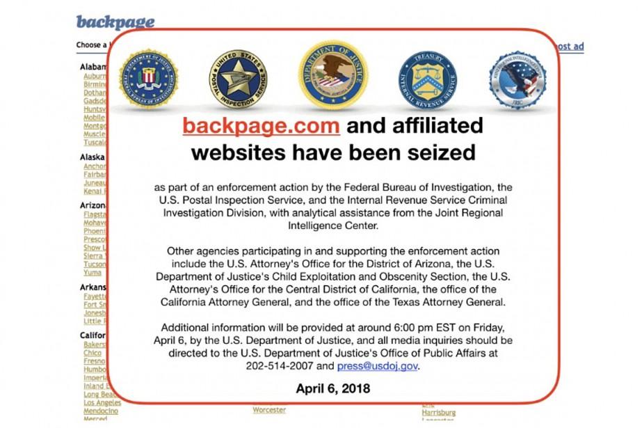 Les tentatives pour se connecter à www.backpage.com ou... (CAPTURES D'ÉCRAN BACKPAGE.COM)