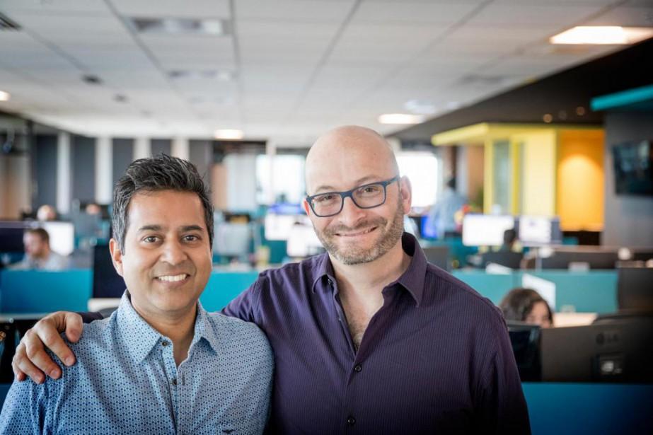 Jeet Niyogi, directeur marketing de Playtika, et Yoav... (PHOTO MARCO CAMPANOZZI, LA PRESSE)