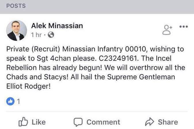 Le message publié sur la page d'Alek Minassian... (Image tirée de Facebook)